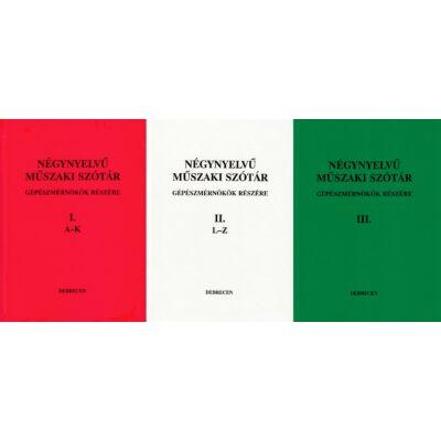 Négynyelvű műszaki szótár gépészmérnökök részére I-III.
